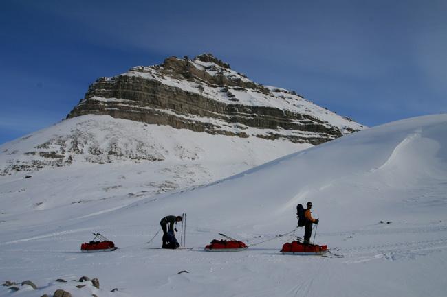 Steep rocky mountains on Spitsbergen.